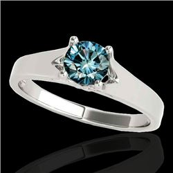 1 CTW SI Certified Fancy Blue Diamond Solitaire Ring 10K White Gold - REF-141V8Y - 35160