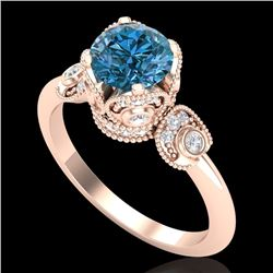 1.75 CTW Fancy Intense Blue Diamond Solitaire Art Deco Ring 18K Rose Gold - REF-236R4K - 37405