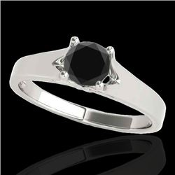 1.50 CTW Certified VS Black Diamond Solitaire Ring 10K White Gold - REF-51H5M - 35167