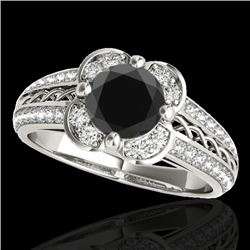 1.50 CTW Certified VS Black Diamond Solitaire Halo Ring 10K White Gold - REF-76H7M - 34259