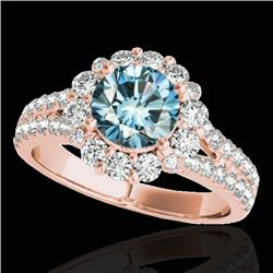 2.01 CTW SI Certified Fancy Blue Diamond Solitaire Halo Ring 10K Rose Gold - REF-209F3N - 33937