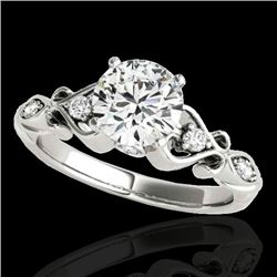 1.15 CTW H-SI/I Certified Diamond Solitaire Antique Ring 10K White Gold - REF-156R4K - 34810