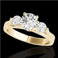 1.50 CTW H-SI/I Certified Diamond 3 Stone Ring 10K Yellow Gold - REF-180K2W - 35369