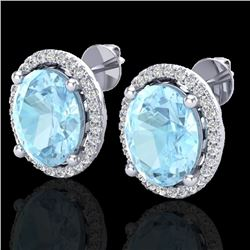 5 CTW Aquamarine & Micro Pave VS/SI Diamond Earrings Halo 18K White Gold - REF-102F7N - 21045