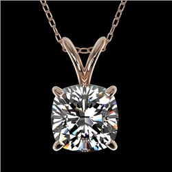 1 CTW Certified VS/SI Quality Cushion Cut Diamond Necklace 10K Rose Gold - REF-267R7K - 33199