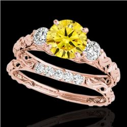1.35 CTW Certified SI/I Fancy Intense Yellow Diamond 3 Stone Set 10K Rose Gold - REF-174W5H - 35438