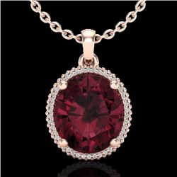 11 CTW Garnet & Micro Pave VS/SI Diamond Certified Halo Necklace 14K Rose Gold - REF-62A2V - 20611