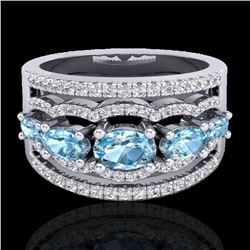2.25 CTW Sky Blue Topaz & Micro Pave VS/SI Diamond Designer Ring 10K White Gold - REF-72X2R - 20795