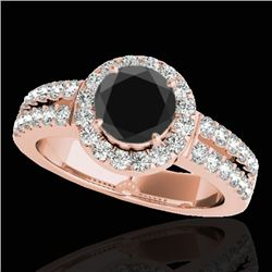 1.50 CTW Certified VS Black Diamond Solitaire Halo Ring 10K Rose Gold - REF-86V7Y - 33993