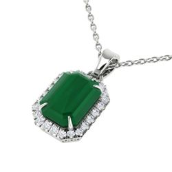 5.50 CTW Emerald & Micro Pave VS/SI Diamond Halo Necklace 18K White Gold - REF-77K8W - 21358