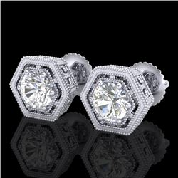 1.07 CTW VS/SI Diamond Solitaire Art Deco Stud Earrings 18K White Gold - REF-190M9F - 36899