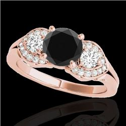 1.45 CTW Certified VS Black Diamond 3 Stone Ring 10K Rose Gold - REF-73M3F - 35335