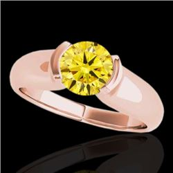 1 CTW Certified SI/I Fancy Intense Yellow Diamond Solitaire Ring 10K Rose Gold - REF-207K3W - 35181
