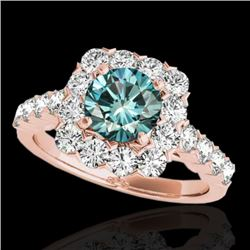 2.5 CTW SI Certified Fancy Blue Diamond Solitaire Halo Ring 10K Rose Gold - REF-230N9A - 33349
