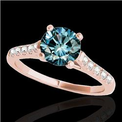 1.45 CTW SI Certified Fancy Blue Diamond Solitaire Ring 10K Rose Gold - REF-163R5K - 34985
