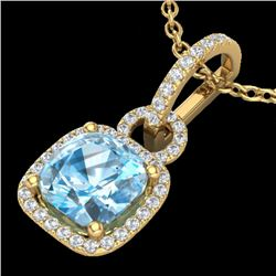 3.50 CTW Topaz & Micro VS/SI Diamond Certified Necklace 18K Yellow Gold - REF-60N7A - 22994