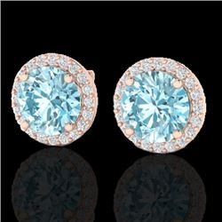 4 CTW Sky Blue Topaz & Halo VS/SI Diamond Micro Earrings Solitaire 14K Rose Gold - REF-53Y3X - 21482
