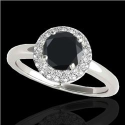 1.43 CTW Certified VS Black Diamond Solitaire Halo Ring 10K White Gold - REF-65X6R - 33664