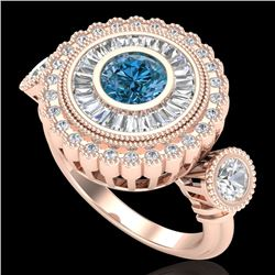 2.62 CTW Intense Blue Diamond Solitaire Art Deco 3 Stone Ring 18K Rose Gold - REF-290V9Y - 37923