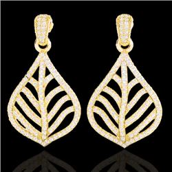 2.50 CTW Micro Pave VS/SI Diamond Certified Earrings Designer 18K Yellow Gold - REF-214Y5X - 21152