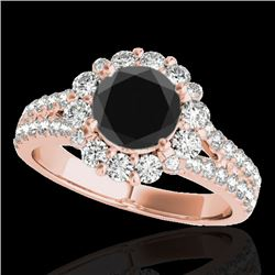 2.51 CTW Certified VS Black Diamond Solitaire Halo Ring 10K Rose Gold - REF-111M3F - 33944