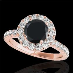 1.75 CTW Certified VS Black Diamond Solitaire Halo Ring 10K Rose Gold - REF-82H7M - 33440