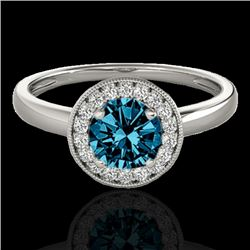 1.15 CTW SI Certified Fancy Blue Diamond Solitaire Halo Ring 10K White Gold - REF-152R7K - 33468
