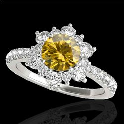 2 CTW Certified SI/I Fancy Intense Yellow Diamond Solitaire Halo Ring 10K White Gold - REF-200R2K -