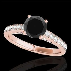 1.50 CTW Certified VS Black Diamond Solitaire Ring 10K Rose Gold - REF-68F2N - 34866