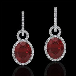 8 CTW Garnet & Micro Pave Solitaire Halo VS/SI Diamond Earrings 14K White Gold - REF-100W2H - 22736