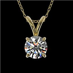 0.50 CTW Certified H-SI/I Quality Diamond Solitaire Necklace 10K Yellow Gold - REF-51F2N - 33155