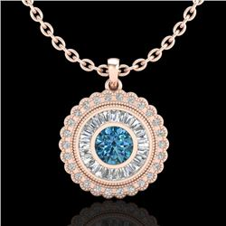2.11 CTW Fancy Intense Blue Diamond Solitaire Art Deco Necklace 18K Rose Gold - REF-227A3V - 37916