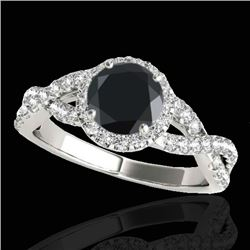 1.54 CTW Certified VS Black Diamond Solitaire Halo Ring 10K White Gold - REF-72N2A - 33790
