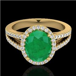 3 CTW Emerald & Micro VS/SI Diamond Halo Solitaire Ring 18K Yellow Gold - REF-83A6V - 20939