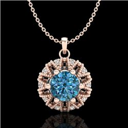 1.20 CTW Fancy Intense Blue Diamond Art Deco Stud Necklace 18K Rose Gold - REF-118N2A - 37741