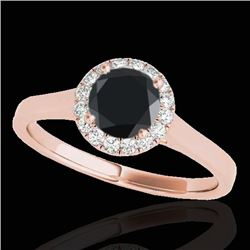 1.11 CTW Certified VS Black Diamond Solitaire Halo Ring 10K Rose Gold - REF-59N3A - 33818