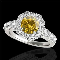 2.9 CTW Certified SI/I Fancy Intense Yellow Diamond Solitaire Halo Ring 10K White Gold - REF-358A5V