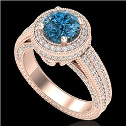 2.8 CTW Intense Blue Diamond Solitaire Engagement Art Deco Ring 18K Rose Gold - REF-327X3R - 38007