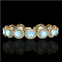 23 CTW Aquamarine & Micro Pave VS/SI Diamond Certified Bracelet 10K Yellow Gold - REF-436K4W - 22682