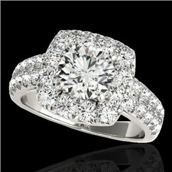 2.5 CTW H-SI/I Certified Diamond Solitaire Halo Ring 10K White Gold - REF-260W2H - 33643