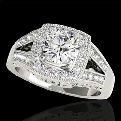 1.65 CTW H-SI/I Certified Diamond Solitaire Halo Ring 10K White Gold - REF-233F4N - 34459