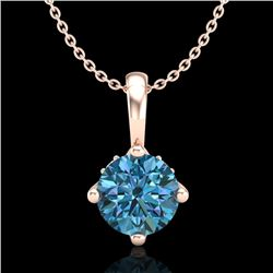 0.82 CTW Fancy Intense Blue Diamond Solitaire Art Deco Necklace 18K Rose Gold - REF-103M6F - 37804