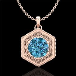 0.76 CTW Fancy Intense Blue Diamond Solitaire Art Deco Necklace 18K Rose Gold - REF-103K6W - 37517