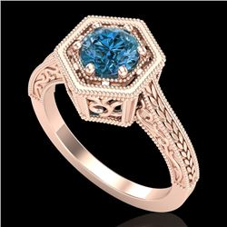 0.77 CTW Fancy Intense Blue Diamond Solitaire Art Deco Ring 18K Rose Gold - REF-130N9A - 37503