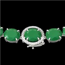 170 CTW Emerald & VS/SI Diamond Halo Micro Solitaire Necklace 14K White Gold - REF-993H8M - 22294