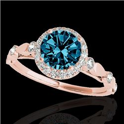 1.25 CTW SI Certified Fancy Blue Diamond Solitaire Halo Ring 10K Rose Gold - REF-160X2R - 33622