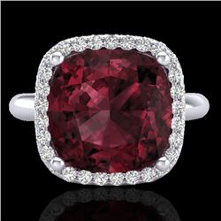 6 CTW Garnet And Micro Pave Halo VS/SI Diamond Ring Solitaire 18K White Gold - REF-56R9K - 23099
