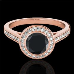 1.30 CTW Certified VS Black Diamond Solitaire Halo Ring 10K Rose Gold - REF-65V8Y - 33629