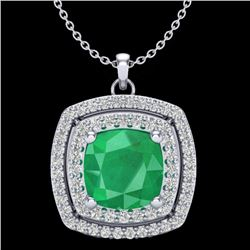 2.52 CTW Emerald & Micro Pave VS/SI Diamond Halo Necklace 18K White Gold - REF-76V4Y - 20454