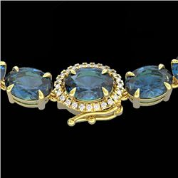 90 CTW London Blue Topaz & VS/SI Diamond Tennis Micro Halo Necklace 14K Yellow Gold - REF-281R8K - 2